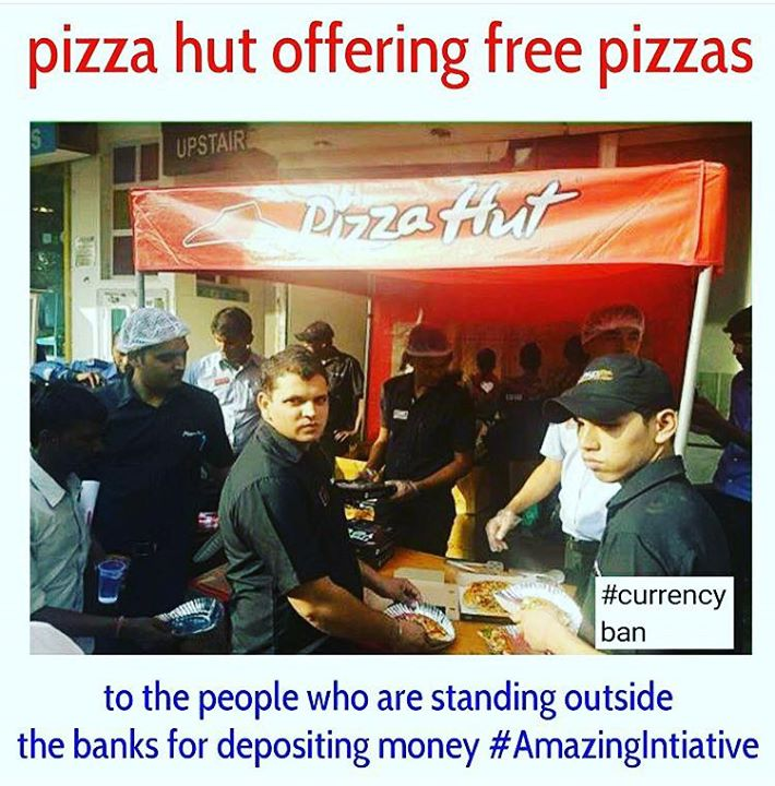 Pizza Hut announced Friday that they have started delivering free pizzas to bankers and free pizza slices to customers in these five cities - Delhi, Gurgaon, Mumbai, Pune, and Bengaluru.