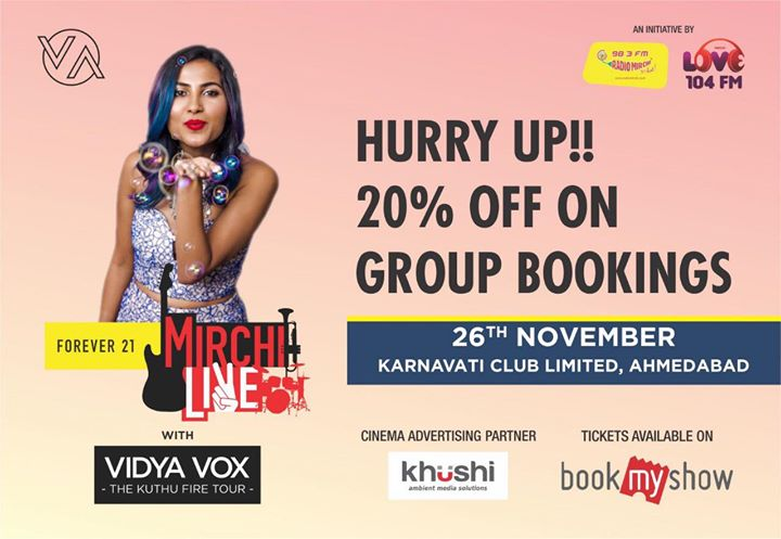 #vidyavox #mirchiLIVE #firstever Click on the link and book your tickets NOW  goo.gl/s2pXfQ