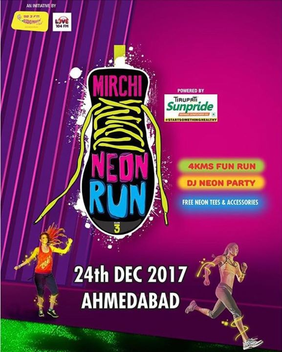 Get ! Set ! GLOW !  Mirchi Neon Run season 3 on 24th Dec  #mirchineonrun #mirchiahmedabad #season3 #running #party   https://goo.gl/4SZ4jg click here to book your tickets
