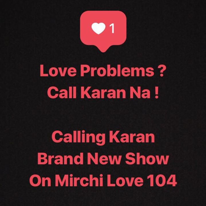 Tune in NOW !  Radio's New BFF  First Time EVER @karanjohar as RJ ♥️♥️🎉😎😎 ONLY on Mirchi Love 104  everyday from 8pm to 10pm  listen RJ Karan solving Love Problems and Relationship Fundas !  If you wanna call him .....& Ask a question  Whatsapp your name & city to 8070700700