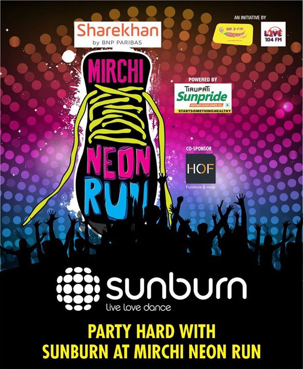 Let's spend 7th Jan 2018 together?? At Mirchi Neon Run !  Your Fun Run and after Run Party ! What better way than @sunburnfestival  Join the Mirchi Gang - Click on the link and Get registered.  https://in.bookmyshow.com/ahmedabad/events/mirchi-neon-run-ahmedabad-2017/ET00065342