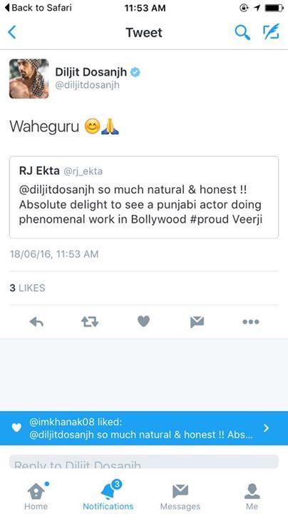 Chak De Fatte Napp De Gilli  Svere Jalandhar Sham Nu Dilli !!!  Burrrraahhhh !!!! #udtapunjab Moment when Diljit Dosanjh Retweets 🙏🏼🙏🏼 Waheguru 🙏🏼🙏🏼