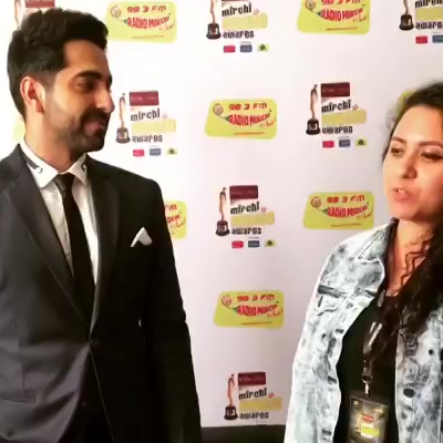 The Super Awesome @ayushmannk at 10th Mirchi Music Awards right after he was honoured with Make It Large for his work