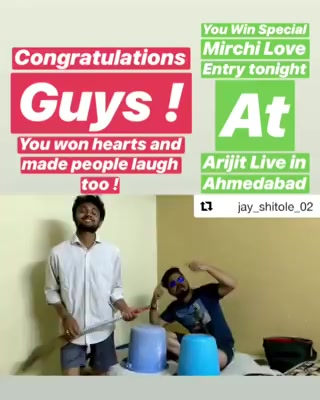 Wohoo !  @jay_shitole_02  Pls inbox your name and contact details URGENTLY and get ready to experience Arijit Singh LIVE tonight
